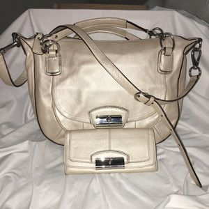 Authentic Coach pearl hobo and wallet